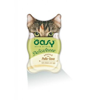 Oasy gatto delicatesse souffle con pollo e uova vaschetta 85 gr