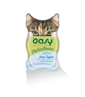 Oasy gatto delicatesse souffle con pesce e yogurt vaschetta 85 gr