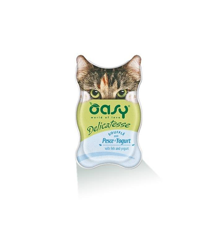 Oasy gatto souffle pesce e yogurt vaschetta 85 gr