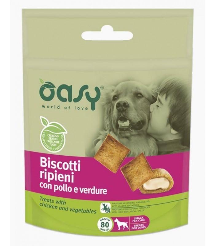 Oasy snack cane biscotti ripieni con pollo e verdure 80 gr