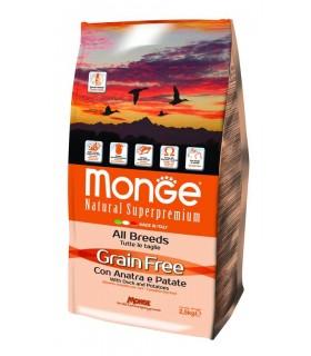 Monge cane grain free all breeds anatra e patate 2,5 kg