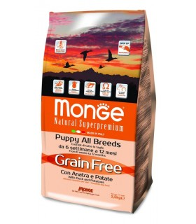 Monge cane grain free puppy all breeds anatra e patate 2,5 kg