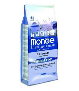 Monge cane grain free all breeds acciughe patate e piselli 12 kg